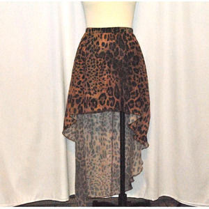 Unif High Low Leopard Skirt